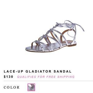 SCHUTZ Lace Up Gladiator Metallic Studded Sandals